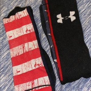 one pair of red,white, and blue socks
